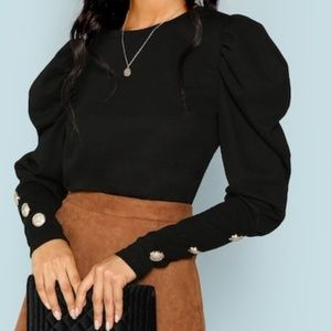 Classy Puff Sleeve w/ Button Detail Tee